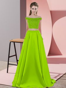 Noble Sweep Train Two Pieces Prom Dress Yellow Green Off The Shoulder Elastic Woven Satin Sleeveless Backless