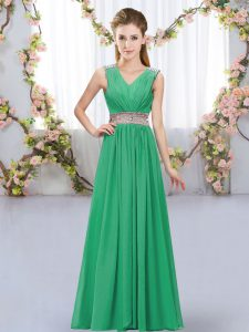Beauteous Turquoise Sleeveless Floor Length Beading and Belt Lace Up Bridesmaids Dress