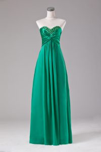 Floor Length Zipper Prom Gown Green for Prom and Party with Beading