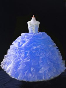 Superior Straps Sleeveless Organza Pageant Dress Womens Beading and Ruffles and Pick Ups Zipper