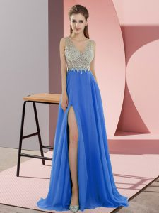 On Sale Blue Empire Chiffon V-neck Sleeveless Beading Zipper Prom Gown Sweep Train