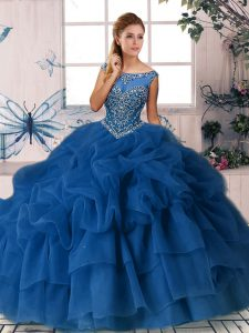 Brush Train Ball Gowns Vestidos de Quinceanera Royal Blue Scoop Organza Sleeveless Zipper