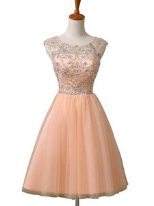 Inexpensive Scoop Sleeveless Cocktail Dresses Mini Length Beading Peach Tulle