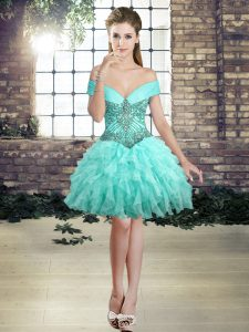 Custom Made Aqua Blue Lace Up Beading and Ruffles Sleeveless Mini Length