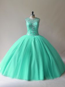 Floor Length Lace Up Sweet 16 Quinceanera Dress Aqua Blue for Sweet 16 and Quinceanera with Beading