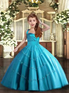 Baby Blue Lace Up Straps Beading Pageant Dress for Girls Tulle Sleeveless