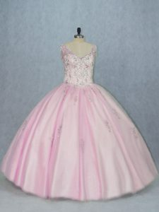 Baby Pink Ball Gowns Tulle V-neck Sleeveless Beading and Appliques Floor Length Backless Sweet 16 Quinceanera Dress