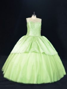 Yellow Green Quince Ball Gowns Sweet 16 and Quinceanera with Beading Scoop Sleeveless Lace Up