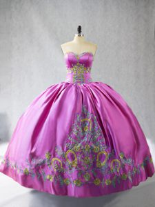 Dramatic Satin Sleeveless Floor Length Quinceanera Gowns and Embroidery