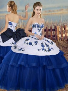 Royal Blue Sweetheart Neckline Embroidery and Bowknot Quince Ball Gowns Sleeveless Lace Up