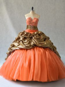 Stunning Brush Train Ball Gowns Quinceanera Gown Orange V-neck Organza and Printed Sleeveless Lace Up
