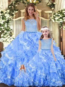 Light Blue Ball Gowns Organza Scoop Sleeveless Lace and Ruffled Layers Floor Length Zipper Sweet 16 Quinceanera Dress