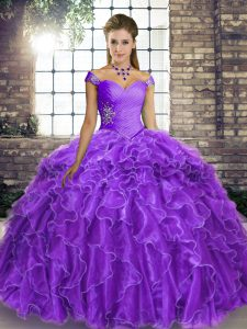 Superior Off The Shoulder Sleeveless 15 Quinceanera Dress Brush Train Beading and Ruffles Lavender Organza