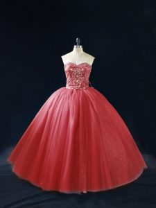 Red Ball Gowns Tulle Sweetheart Sleeveless Beading Lace Up 15th Birthday Dress