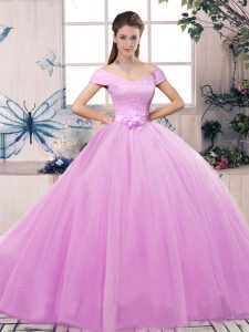 Custom Designed Lilac Ball Gowns Off The Shoulder Short Sleeves Tulle Floor Length Lace Up Lace and Hand Made Flower Vestidos de Quinceanera