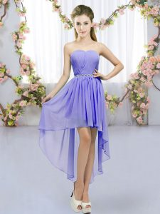 Fitting Beading Damas Dress Lavender Lace Up Sleeveless High Low