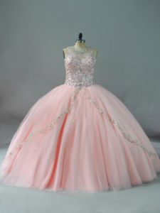 Lace Up Quinceanera Dress Peach for Sweet 16 and Quinceanera with Beading