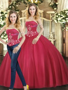 Strapless Sleeveless Lace Up Sweet 16 Dresses Red Tulle