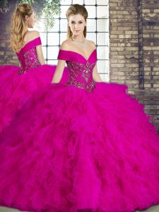 Glamorous Fuchsia Ball Gowns Tulle Off The Shoulder Sleeveless Beading and Ruffles Floor Length Lace Up Ball Gown Prom Dress