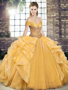 Gold Ball Gowns Organza Off The Shoulder Sleeveless Beading and Ruffles Floor Length Lace Up Ball Gown Prom Dress