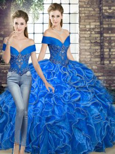 Colorful Two Pieces Quinceanera Gowns Royal Blue Off The Shoulder Organza Sleeveless Floor Length Lace Up