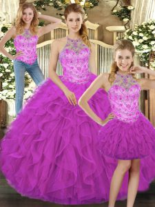 Fuchsia Tulle Lace Up 15 Quinceanera Dress Sleeveless Floor Length Beading and Ruffles