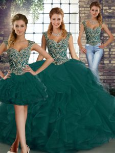 Tulle Sleeveless Floor Length Ball Gown Prom Dress and Beading and Ruffles