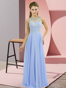 Lavender Zipper Formal Evening Gowns Beading Sleeveless Floor Length