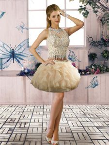 Champagne Scoop Clasp Handle Beading and Ruffles Cocktail Dresses Sleeveless
