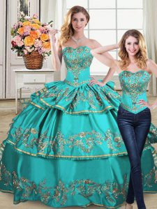 Sophisticated Organza Sweetheart Sleeveless Lace Up Embroidery and Ruffled Layers Quinceanera Dresses in Aqua Blue