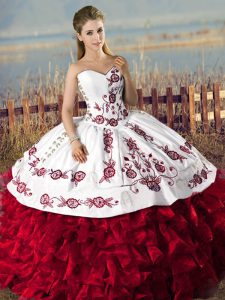 Decent Sweetheart Sleeveless Lace Up Quinceanera Gown Red Organza