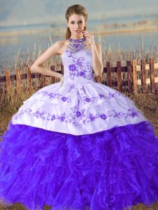 Romantic Sleeveless Court Train Lace Up Embroidery and Ruffles Quinceanera Dress