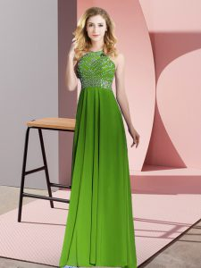 Green Empire Beading Prom Dress Backless Chiffon Sleeveless Floor Length