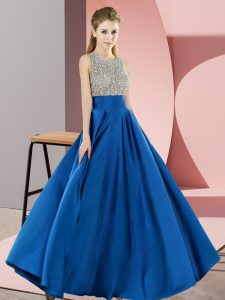 Deluxe Scoop Sleeveless Backless Runway Inspired Dress Blue Elastic Woven Satin