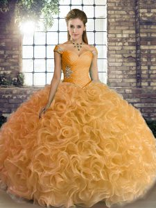 Floor Length Lace Up Quinceanera Dress Gold for Military Ball and Sweet 16 and Quinceanera with Beading
