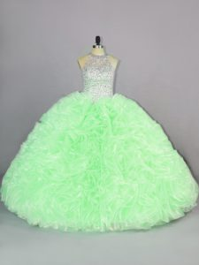 Super Sleeveless Organza Floor Length Lace Up Ball Gown Prom Dress in with Beading and Ruffles