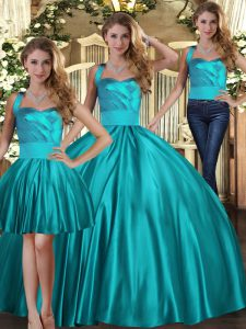Floor Length Teal Quinceanera Dress Halter Top Sleeveless Lace Up