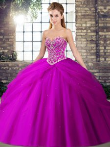 Fuchsia Ball Gowns Beading and Pick Ups 15th Birthday Dress Lace Up Tulle Sleeveless