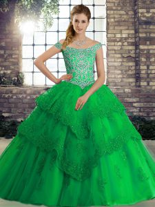 Green Tulle Lace Up Quince Ball Gowns Sleeveless Brush Train Beading and Lace