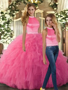 Simple Tulle Sleeveless Floor Length Quinceanera Dresses and Beading and Ruffles
