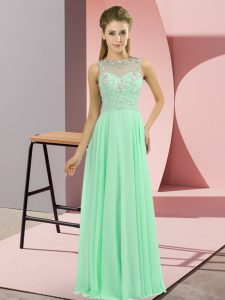 Apple Green Zipper High-neck Beading Dress for Prom Chiffon Sleeveless