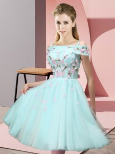 Charming Short Sleeves Lace Up Knee Length Appliques Bridesmaid Dresses