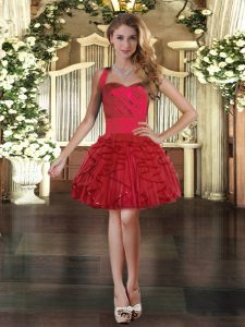 Custom Made Tulle Halter Top Sleeveless Lace Up Ruffles Evening Dress in Wine Red