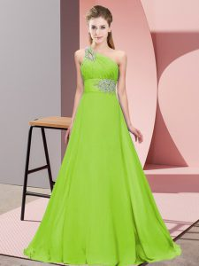 Perfect Yellow Green Lace Up Evening Dress Beading Sleeveless Brush Train