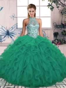 Turquoise Halter Top Neckline Beading and Ruffles 15 Quinceanera Dress Sleeveless Lace Up