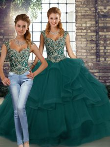 Peacock Green Straps Neckline Beading and Ruffles Quinceanera Gown Sleeveless Lace Up