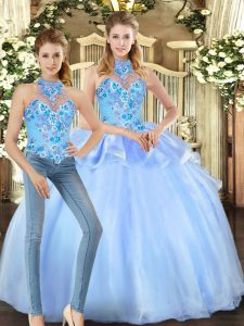 Gorgeous Floor Length Ball Gowns Sleeveless Blue Quinceanera Gowns Lace Up
