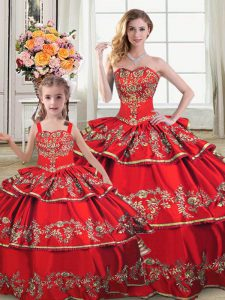 Most Popular Red Quinceanera Dress Sweet 16 and Quinceanera with Embroidery and Ruffled Layers Sweetheart Sleeveless Lace Up
