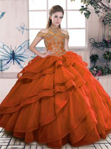 Orange Ball Gowns Organza High-neck Sleeveless Beading and Ruffled Layers Floor Length Lace Up Quinceanera Gowns