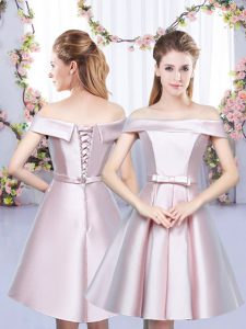 Sumptuous Baby Pink Quinceanera Dama Dress Wedding Party with Bowknot Off The Shoulder Sleeveless Lace Up